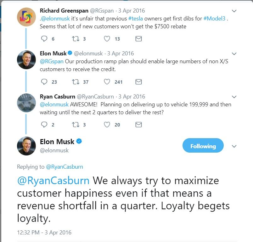 Although Tesla Has Not Responded To Recent Inquiries On This Subject Back April 3 2016 Elon Provided A Tweet That Hints At S Thinking The